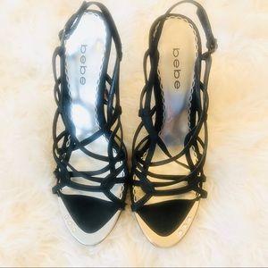 Bebe Black Satin Strappy Slingback Open Toe Shoe